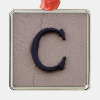 Rustic Letter C Metal Ornament