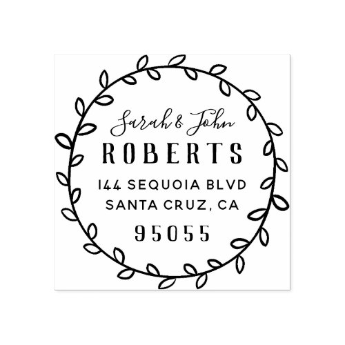 Rustic Lettering Married Couple Return Address Rubber Stamp