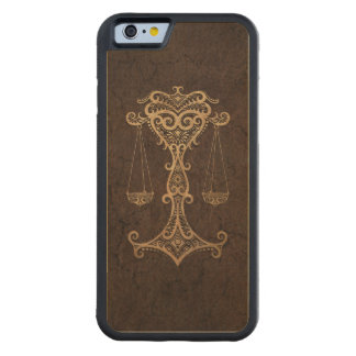 Rustic Libra Zodiac Sign on Stone Effect Carved Maple iPhone 6 Bumper Case