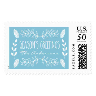 Rustic Light Blue Season's Greetings Stamps