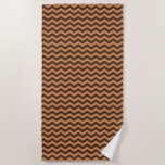 [ Thumbnail: Rustic Light Brown & Dark Brown Wavy Pattern Beach Towel ]