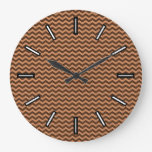 [ Thumbnail: Rustic Light Brown & Dark Brown Wavy Pattern Clock ]