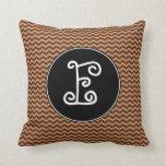 [ Thumbnail: Rustic Light Brown & Dark Brown Wavy Pattern Throw Pillow ]