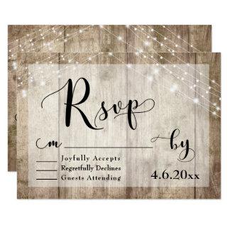 Rustic Light Brown Wood & Lights Wedding RSVP 3 Card