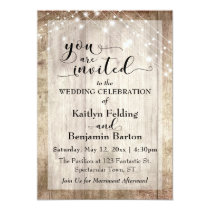 Rustic Light Brown Wood w/ Light Strings, Wedding Invitation