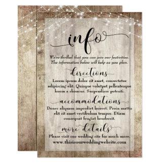 Rustic Light Brown Wood w/ Lights, Wedding Info Card