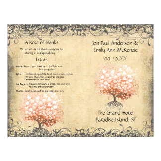Rustic Light Coral Heart Leaf Tree Wedding Program