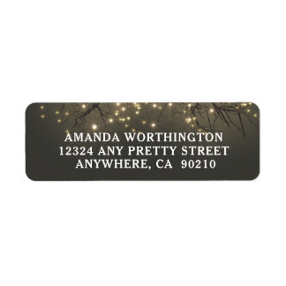 Rustic Lighted Tree Branch Country Wedding Label