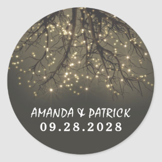 Rustic Lighted Tree Branch Wedding Favor Stickers