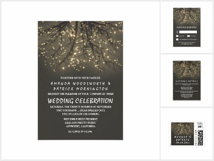 Rustic Lighted Tree Branch Wedding Invitations Set