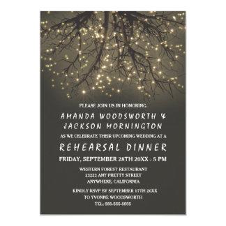 Rustic Lighted Tree Rehearsal Dinner Invitations