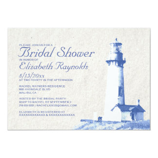 Rustic Lighthouse Bridal Shower Invitations