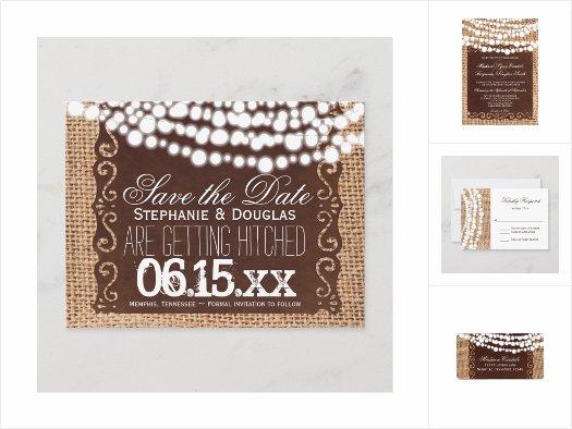 Rustic Lights Burlap Wedding Invitation Set