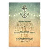 Rustic lights nautical anchor wedding card