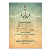 Rustic lights nautical anchor wedding invitation