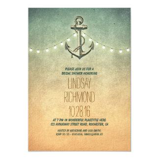"Rustic lights nautical bridal shower invitation 5"" x 7"" invitation card"