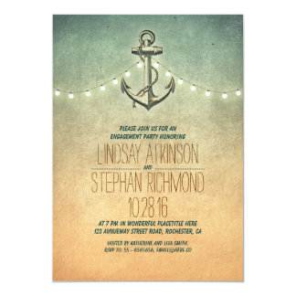 """Rustic lights nautical engagement party invitation 5"""" x 7"""" invitation card"""