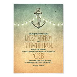 Rustic lights nautical wedding invitation 5