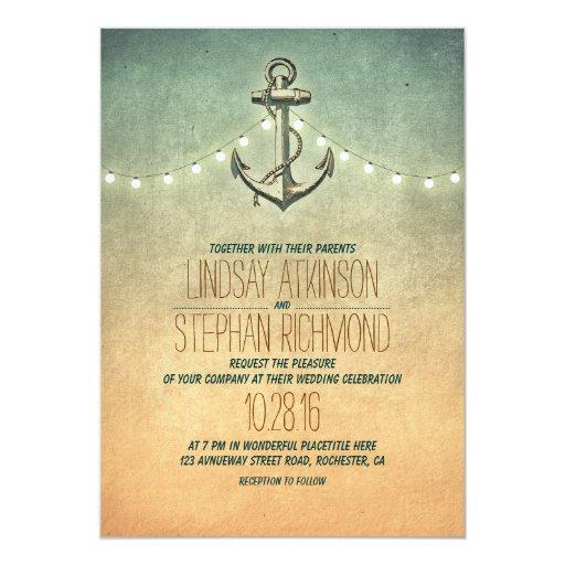 Rustic lights nautical wedding invitation