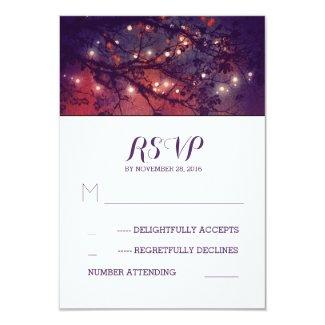 Rustic lights purple wedding RSVP cards