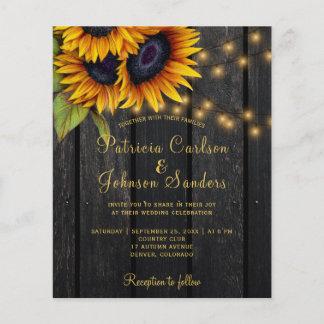 Rustic lights sunflower barn wood budget wedding