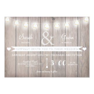 Rustic Lights Wedding Invitation-customizable text Card