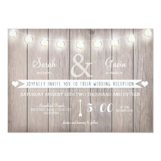 Rustic Lights Wedding Reception Invitation