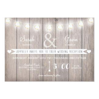 Rustic Lights Wedding Reception Invitation