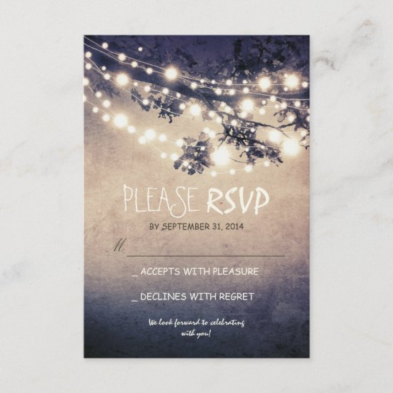 Rustic lights wedding RSVP cards