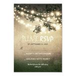 Rustic lights wedding RSVP cards Custom Invite