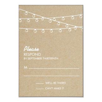 "Rustic Lights White Response 3.5"" X 5"" Invitation Card"