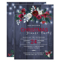Rustic lights winter floral Christmas dinner party Invitation