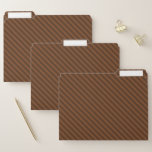 [ Thumbnail: Rustic-Like Dark Brown & Lighter Brown Stripes File Folder ]