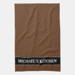 [ Thumbnail: Rustic-Like Dark Brown & Lighter Brown Stripes Kitchen Towel ]