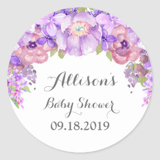 Rustic Lilac Purple Floral Baby Shower Tag