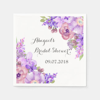 Rustic Lilac Purple Floral Bridal Shower Napkins
