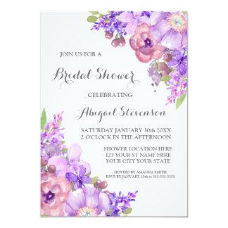 Rustic Lilac Purple Flowers Bridal Shower Card