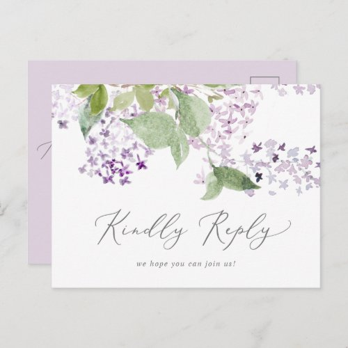 Rustic Lilac Song RSVP Postcard