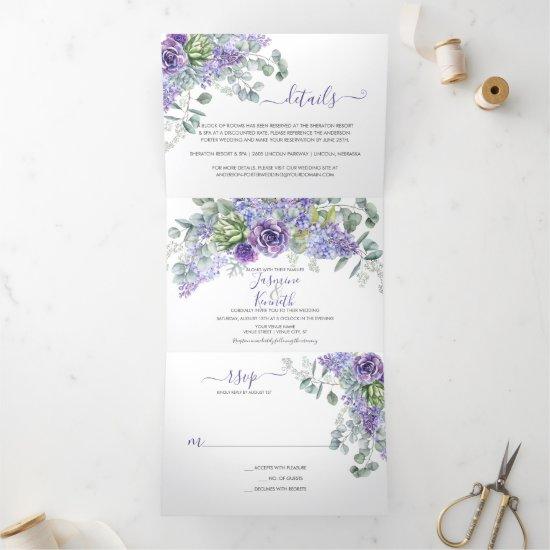 Rustic Lilacs, Succulents, Eucalyptus Wedding Tri-Fold Invitation