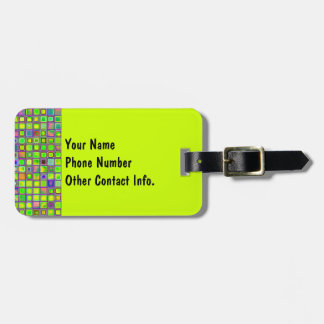 Rustic Lime Green Mosaic 'Clay' Tiles Pattern Luggage Tag