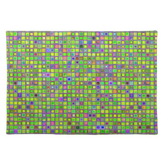 Rustic Lime Green Mosaic 'Clay' Tiles Pattern Placemats
