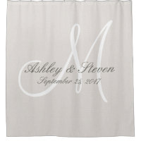 Rustic Linen and White Monogram Wedding Shower Curtain