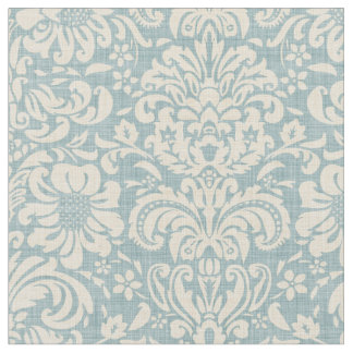 Rustic Linen Beige and Blue Floral Damask Fabric