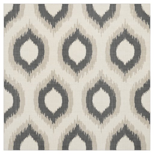 Beige And Coffee Plaid Print Linen Contemporary Bedroom: Rustic Linen Beige And Gray Ikat Print Fabric