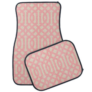 Rustic Linen Beige and Pink Trellis Car Floor Mat