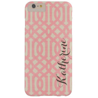 Rustic Linen Beige and Pink Trellis Monogram Barely There iPhone 6 Plus Case