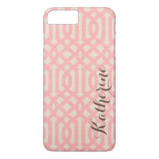 Rustic Linen Beige and Pink Trellis Monogram iPhone 7 Plus Case