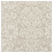 Rustic Linen Beige and Taupe Floral Damask Fabric