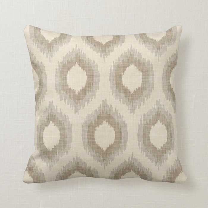 Rustic Linen Beige And Taupe Ikat Print Throw Pillow Zazzle