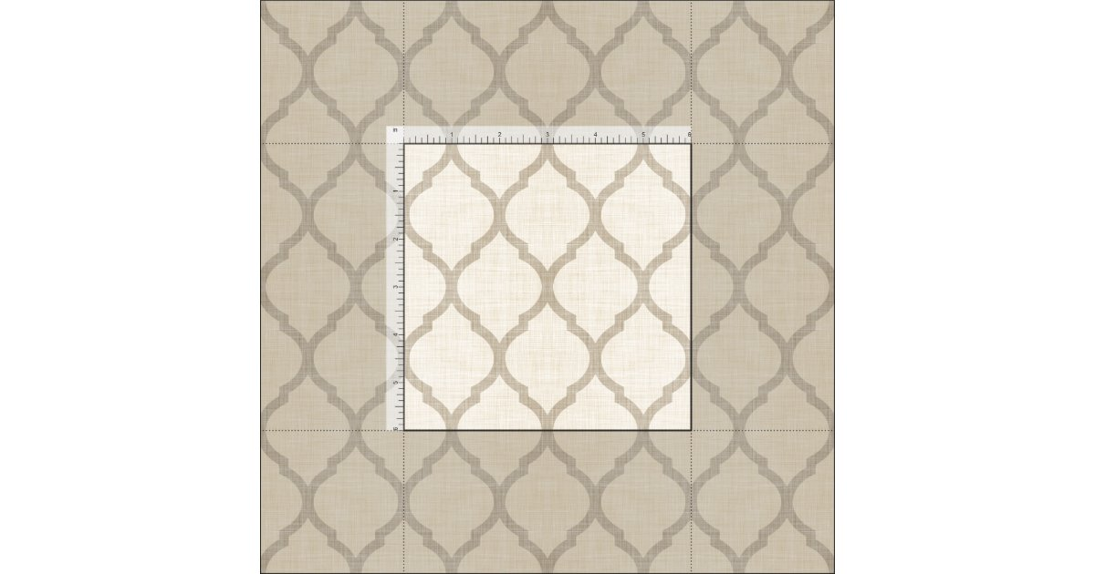 Rustic linen beige and taupe moroccan quatrefoil fabric zazzle - Beige slaapkamer taupe ...